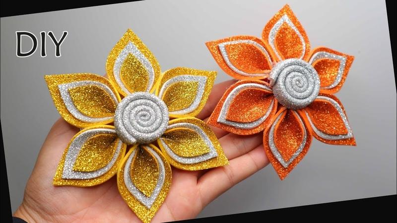 DIY - How to make Glitter Foam flower | Membuat Bunga dari spon glitter sheet | Handmade