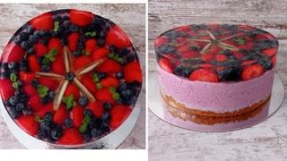 ЙОГУРТОВЫЙ муссовый торт с ягодами и ЖЕЛЕ! торт с Голубикой! Быстро и вкусно!