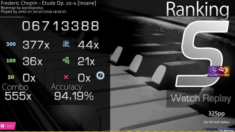 Osu unko Frederic Chopin Etude Op 10 4 Insane HD HR DT 94 19% FC 325pp