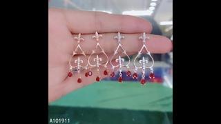 Женские серьги из серебра 925 пробы с натуральным рубином