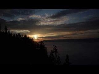 Братск 2013. Рассвет на берегу Ангары. Вид на остров Тенга.