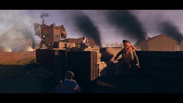 Сцена побега на поезде из Iron Harvest