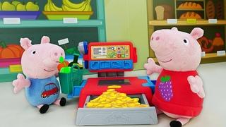O mercado da Peppa Pig com a caixa registradora Play-Doh! Histórias para crianças com brinquedos