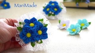Резинки с Цветами из Репса Канзаши МК Laço Flower Tutorial Kanzashi