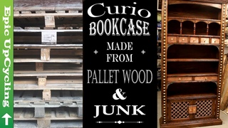 Steampunk Industrial Bookcase. An unusual piece of furniture made of pallet wood and up-cycled junk