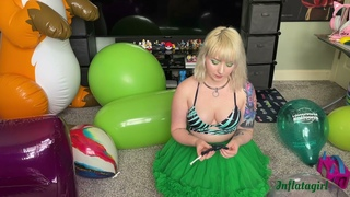 Blowing Up A Crystal Green Geo Blossom Balloon