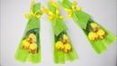 Как упаковать цветы на 8 марта. Букет из тюльпанов с конфетами.