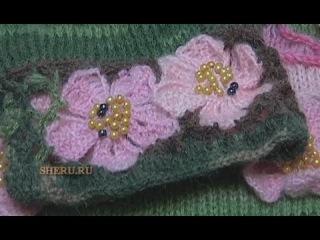 Вязание Цветка крючком Урок 19 Как связать нежный и плоский Цветочек с пятью лепестками
