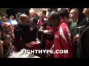 CONTROVERSY ERUPTS AFTER FLOYD MAYWEATHER TRIES ON MAIDANA'S GLOVES AIN'T NO PADDING IN THE GLOVE