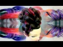 High braid updo Hairstyle with rainbow hair extentions