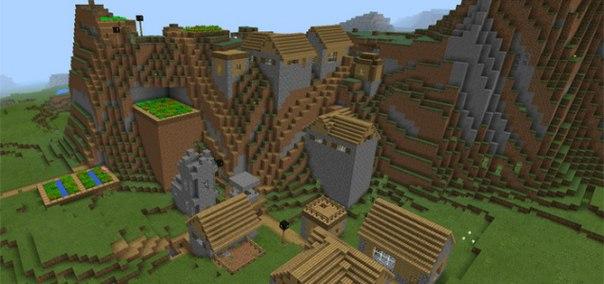 сид на карту с большой деревней для майнкрафт 0.14.0 #2