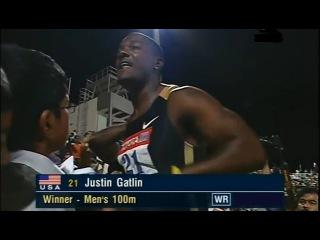 Justin Gatlin breaks world record on 100m (HD)