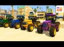 Мультик про Трактор и Цветные Длинные Машинки Учим Цвета для Детей и Малышей с В
