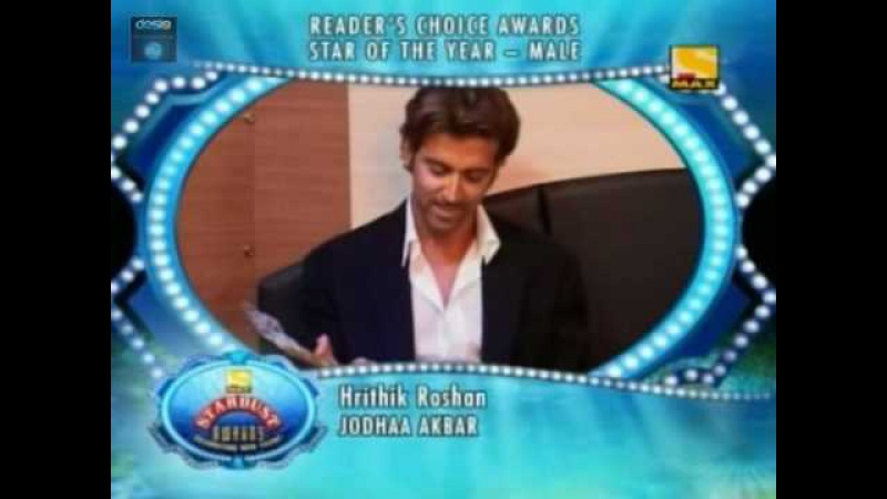 Hrithik Star of the year at Start Dust Award -Jodhaa Akbar