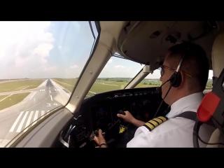 Посадки с ветром, вид из кабины