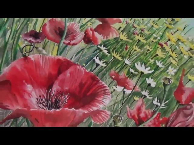 Realistic watercolor painting Poppy field by artist Ivo Jordanov