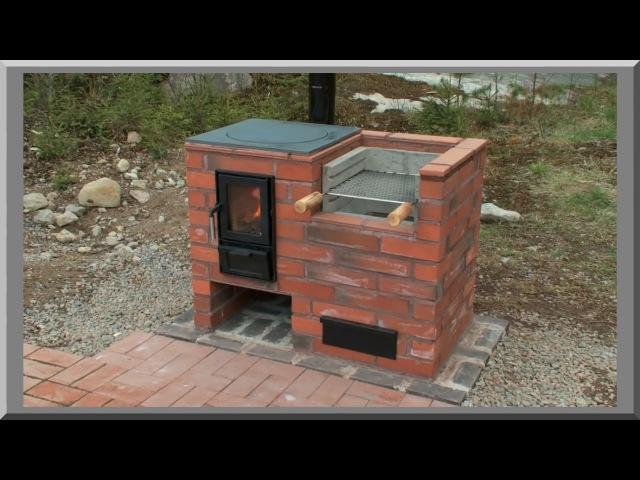 Финская уличная печь. Варочная печь с барбекю и плитой под казан. Street oven, outdoor barbecue oven