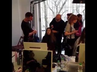 Gigi backstage at Fendi