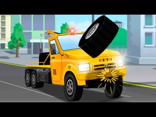 The Tow Truck Accident on the Road - Service Vehicles Cartoon - Cars & Trucks Kids Animation
