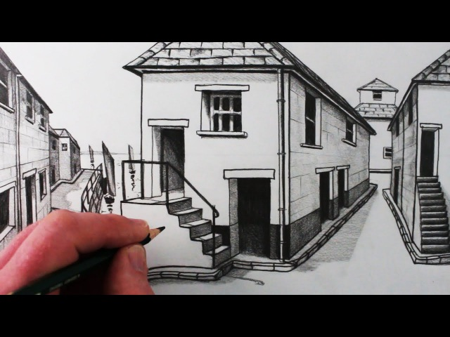 How to Draw a House in 1-Point Perspective: Step by Step