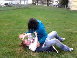 Kimmy and Mackenzie wrestling