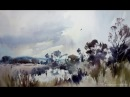 'Marsh harrier over the starling roost' Full watercolour demo by Jem Bowden