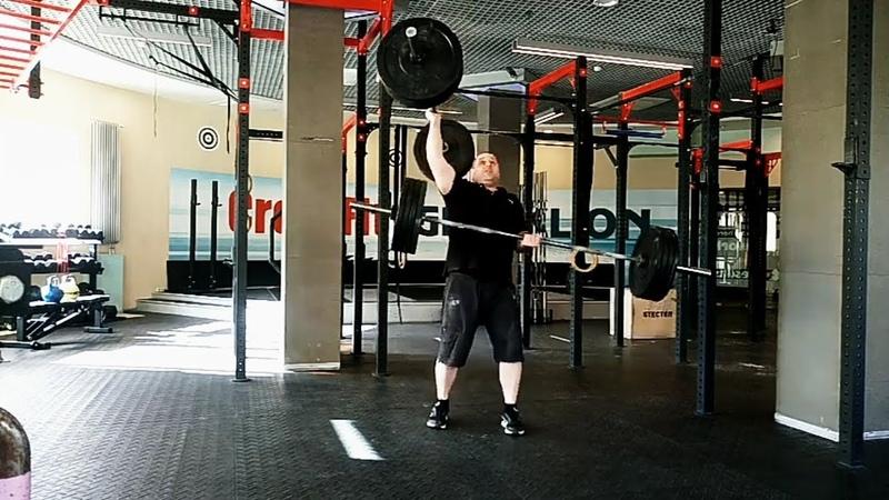 Попытка доношения с двумя штангами 114 кг 57 кг 57 кг Two hands anyhow attempt 114 kg