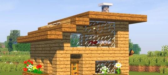 смотреть как сделать в майнкрафте маленький домик из дерева #7