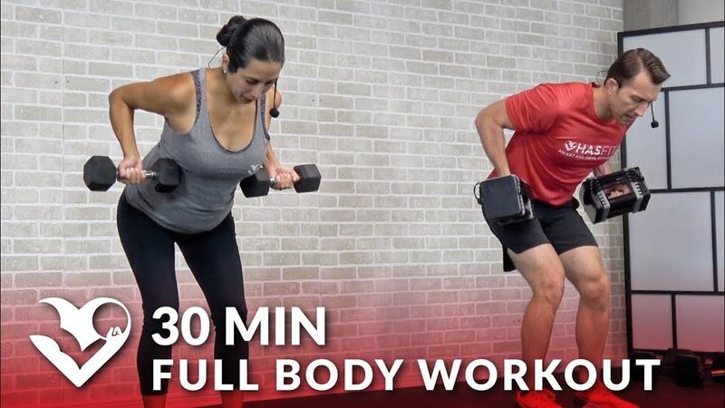 HASfit Full Body Strength Workout with Dumbbells Несложная силовая тренировка с гантелями на 30 минут
