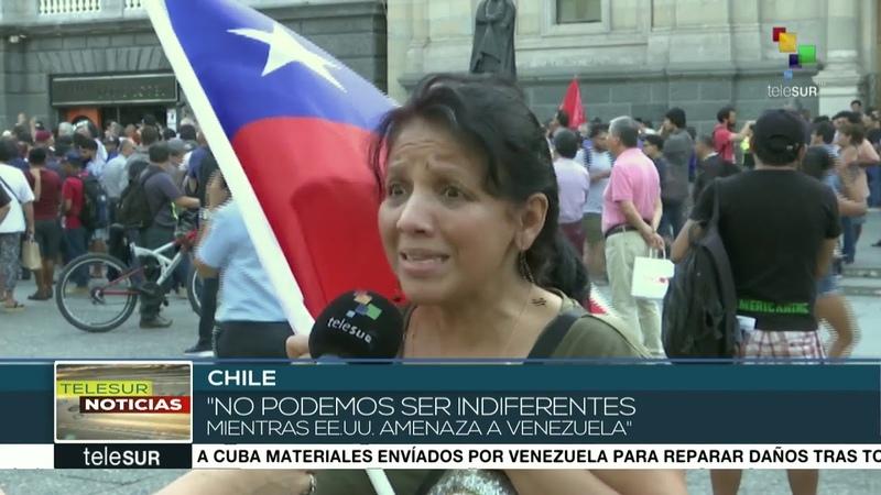 Chilenos salen a las calles para apoyar al pueblo y gob. de Venezuela