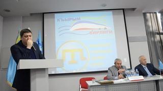 """Заместитель председателя """"Къырым бирлиги"""" Рустем Ниметуллаев на конференции"""