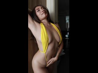 Nam in yellow micro bikini more