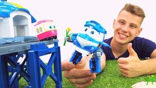 Видео для детей. Роботы поезда - садовники. Веселая школа