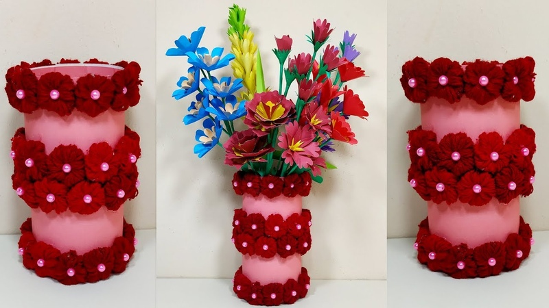 How to Make Paper Flower Vase with Wool Easy Flower Vase Idea Abigail Paper Crafts