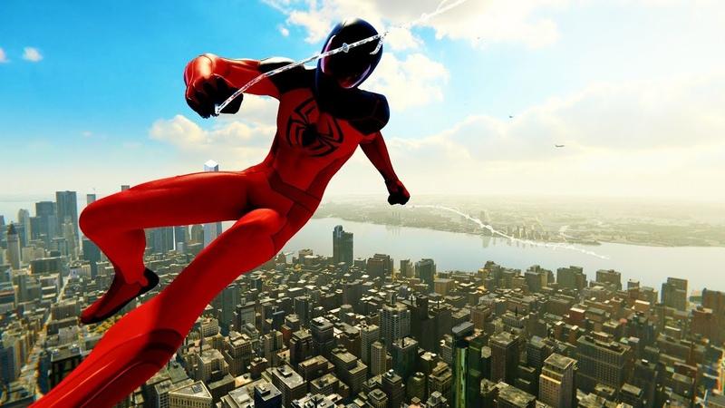 Spider-Man PS4 - Scarlet Spider II Suit Advanced Combat Free Roam Gameplay