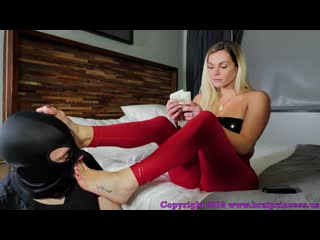 Brat princess becky foot worship(young,ass fetish,spandex leggings,wetlook,mistress,blonde,femdom, humiliation)