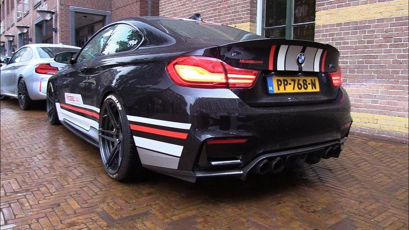 BMW M4 F82 MOSSELMAN Turbo Akrapovic Exhaust - Start, Revs, Flames, Accelerations!