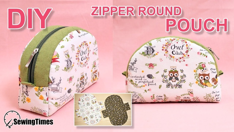 DIY ZIPPER ROUND POUCH BAG 반달 파우치 | Makeup Pouch Sewing Tutorial Free Pattern [sewingtimes]