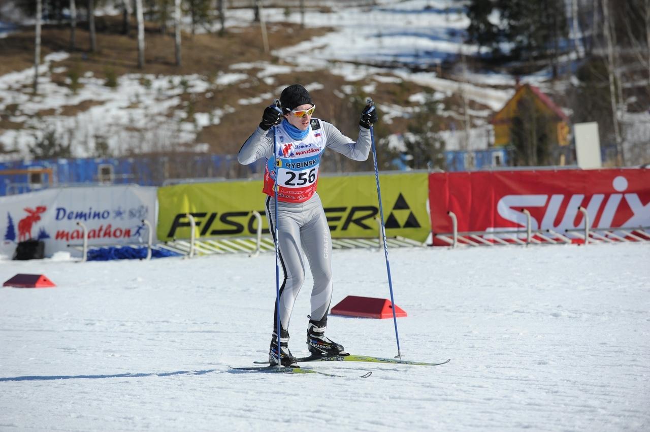 Михаил на трассе Дёминского лыжного марафона 2015г.