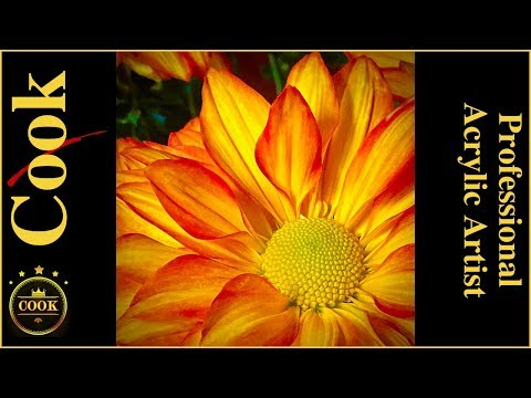 How to Paint a Golden Mum Daisy in Acrylic Painting Tutorial for Beginner and Advanced Artists
