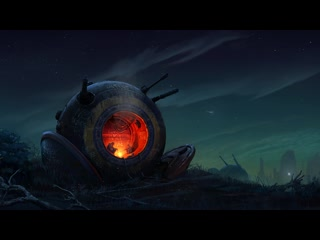 Sci-fi fireplace with lofi music and fire crackling sounds