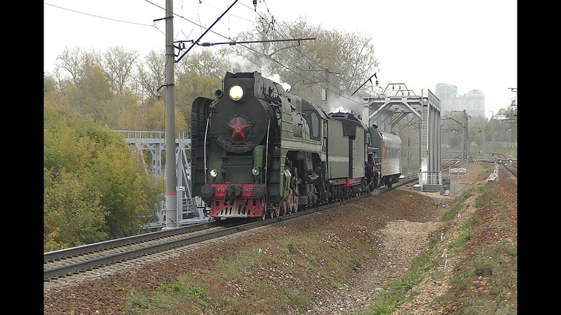 П36-0120 и Л-2057 с ретропоездом и ЭП2Д-0044, перегон Тушино - Павшино