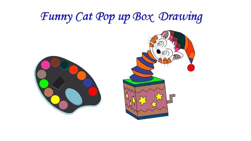 Funny Cat pop up Box Drawing