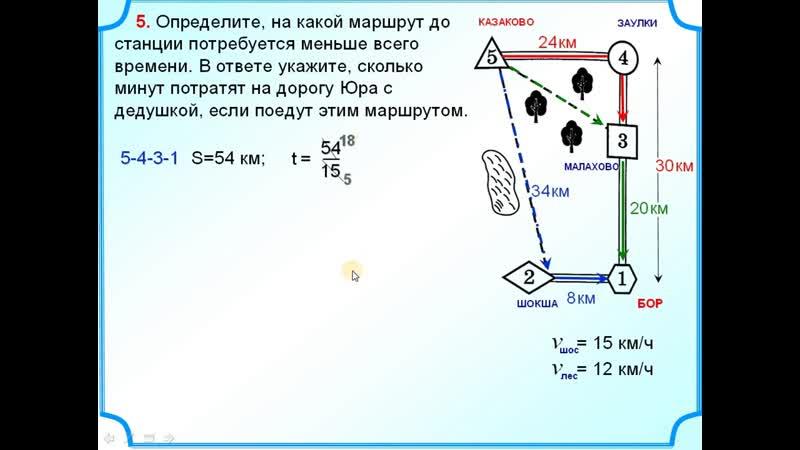 ОГЭ Задания 1-5 Шоссе, тропинки, маршруты и теорема Пифагора