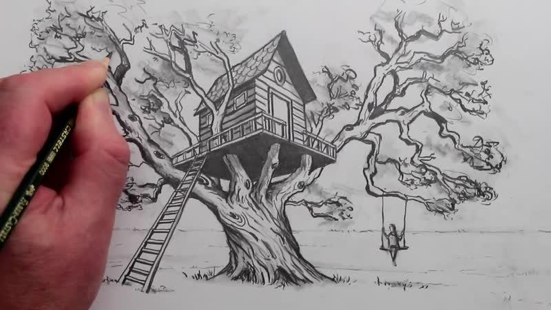 Как нарисовать реалистичный дом на дереве в двухточечной перспективе