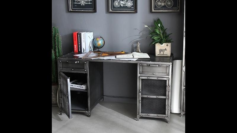 American iron desk creative table file cabinet bookcase industrial computer desk