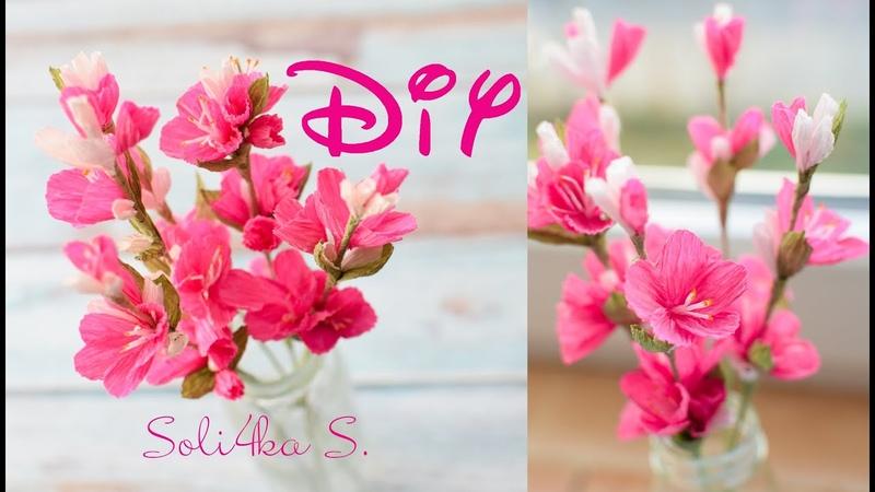 DIY soli4ka s Гілочки весняного цвіту з гофропаперу цвітіння веточка весенних цветов з бумаги