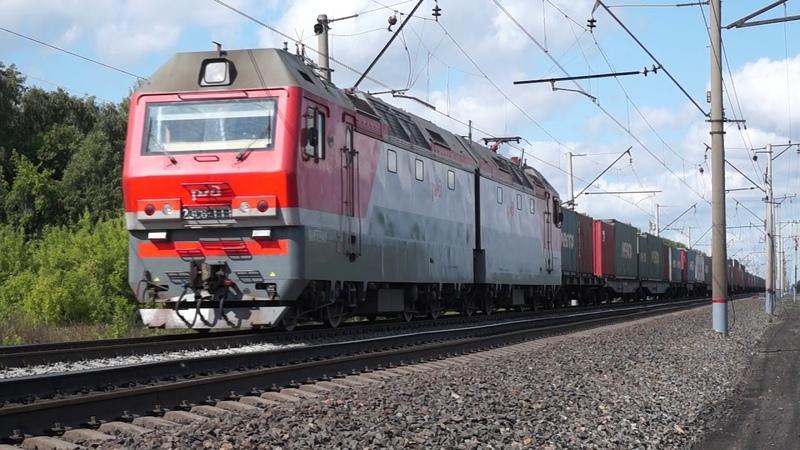 Электровоз 2ЭС6 111 Синара с контейнерным поездом