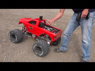 MAN and his GIANT TOY MEGA TRUCK! GAS POWER 49cc Engine - 80lb RAMINATOR - RC ADVENTURES RC models