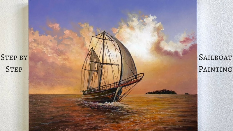 Sailboat STEP by STEP Acrylic Painting (ColorByFeliks)